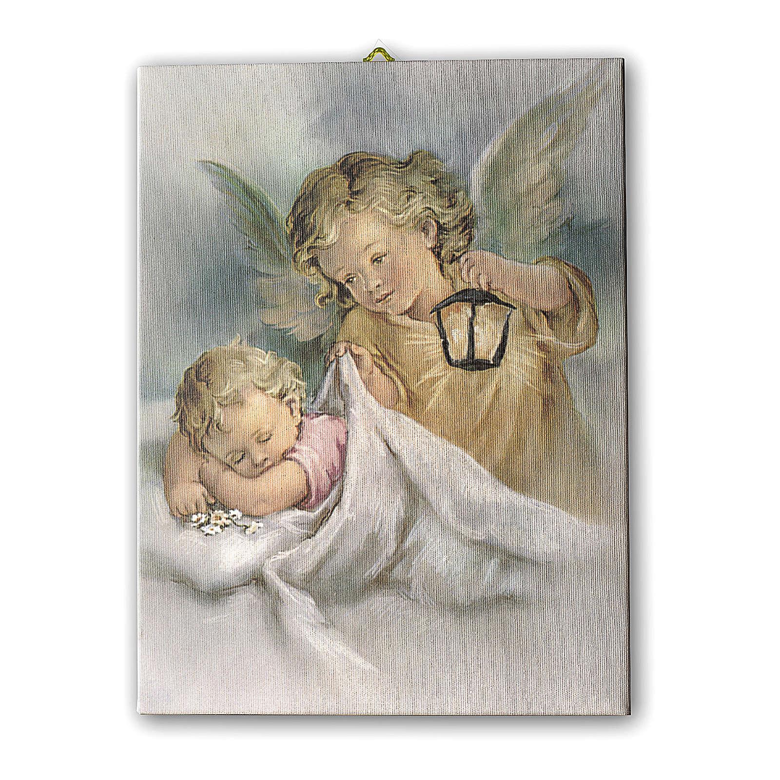 Cuadro sobre tela pictórica Ángel de la Guarda con Linterna 40x30 cm 3