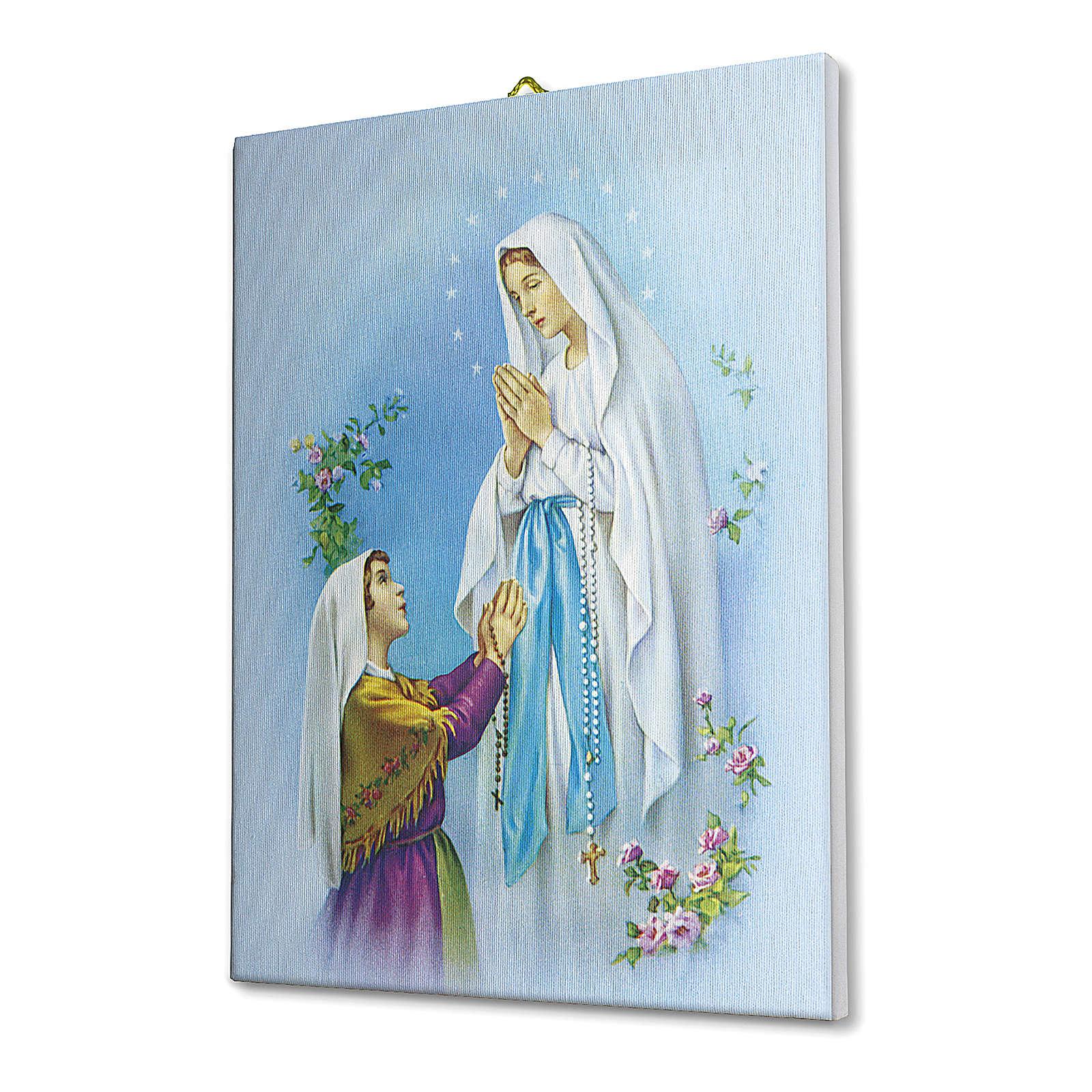 Quadro su tela pittorica Apparizione di Lourdes Con Bernadette 25x20 cm 3