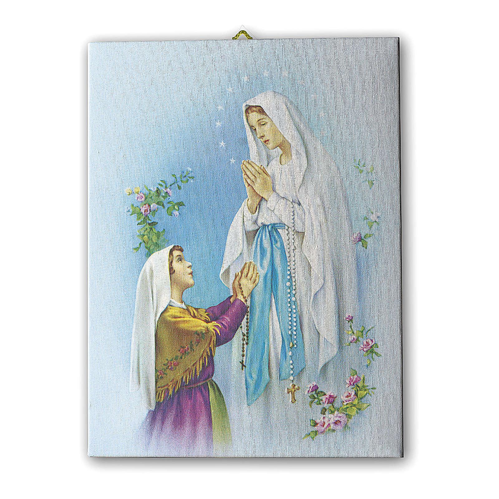 Quadro su tela pittorica Apparizione di Lourdes Con Bernadette 40x30 cm 3