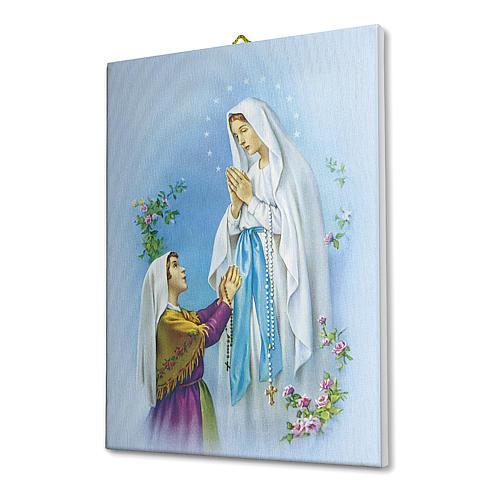 Quadro su tela pittorica Apparizione di Lourdes Con Bernadette 40x30 cm 2