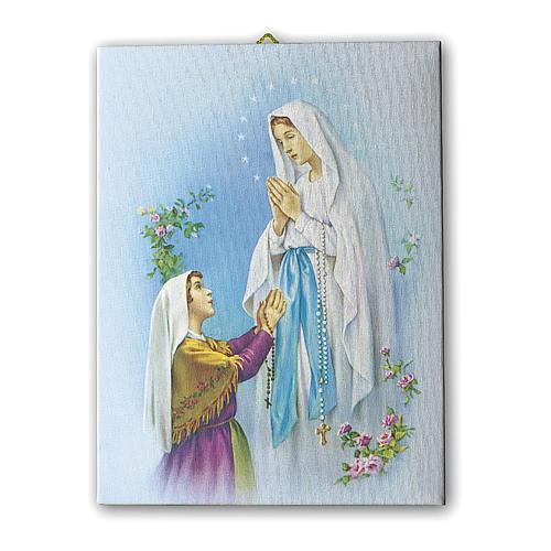 Cuadro sobre tela pictórica Aparición de Lourdes con Bernadette 70x50 cm 1