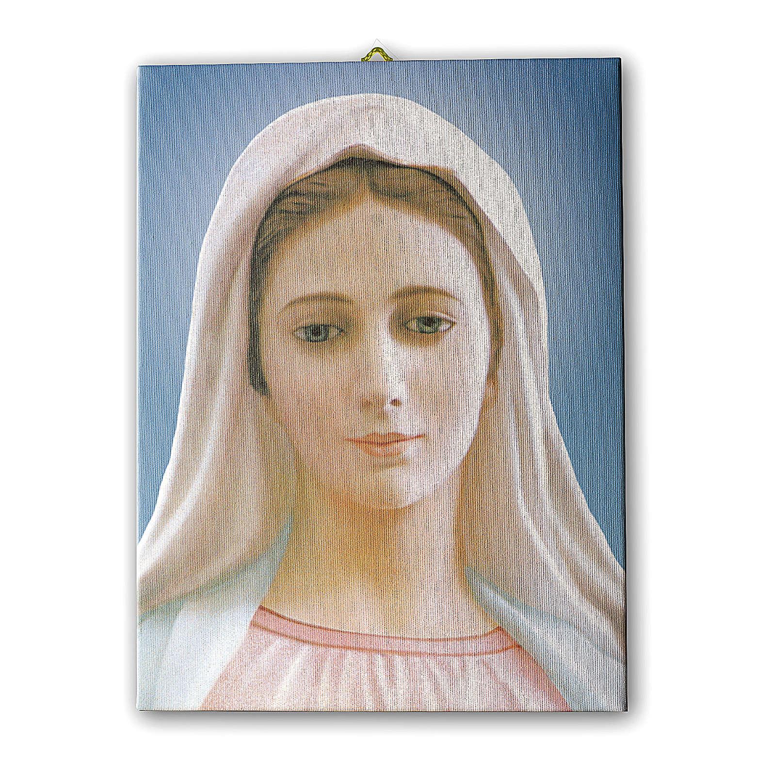 Quadro su tela pittorica Madonna di Medjugorje 25x20 cm 3