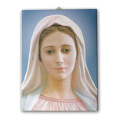 Quadro su tela pittorica Madonna di Medjugorje 25x20 cm 1