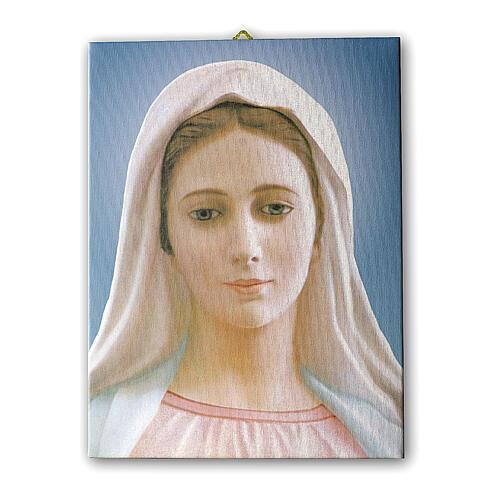 Quadro Nossa Senhora de Medjugorje tela 25x20 cm