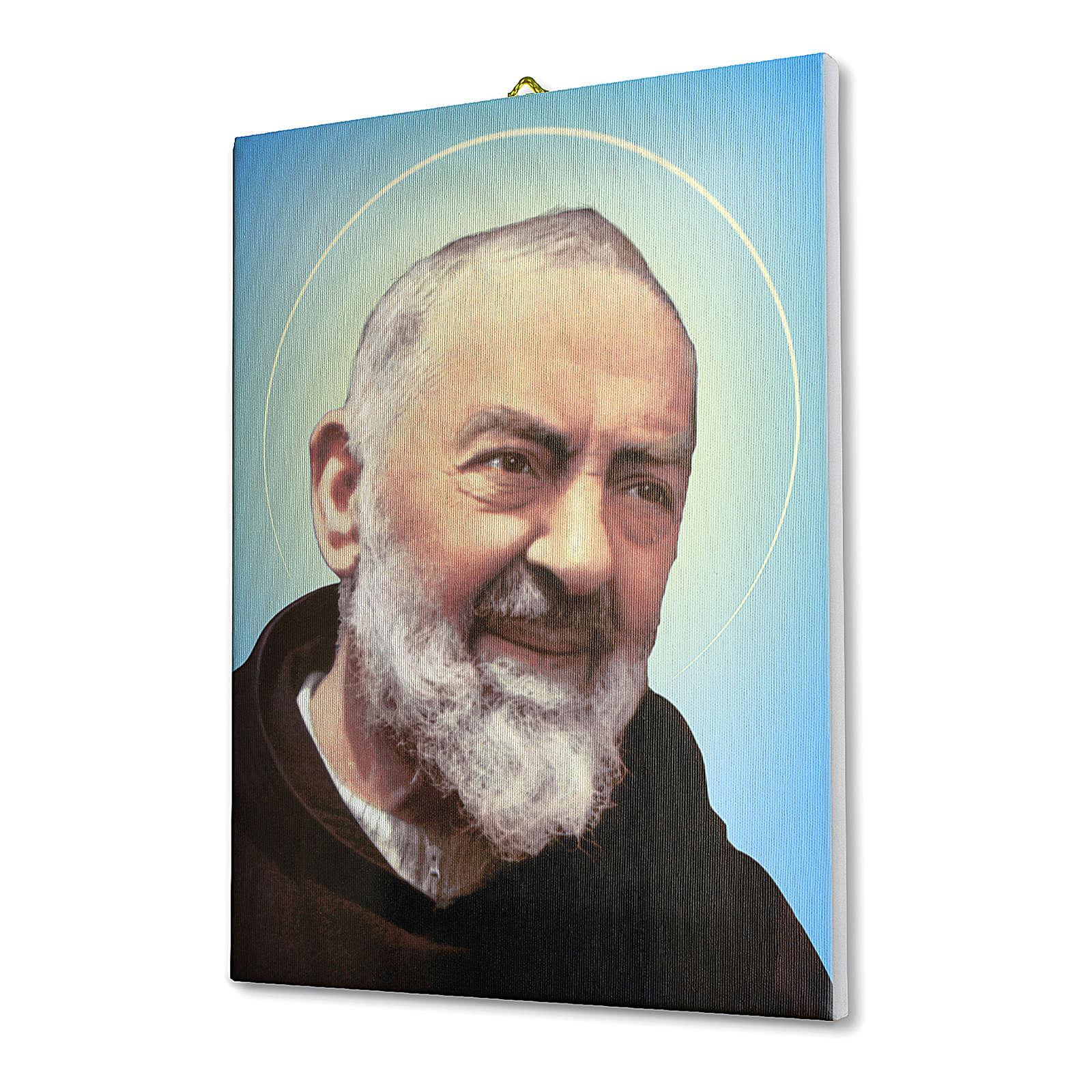 Quadro su tela pittorica Padre Pio 25x20 cm 3