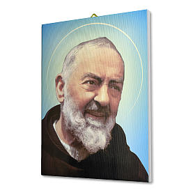 Quadro su tela pittorica Padre Pio 25x20 cm s2
