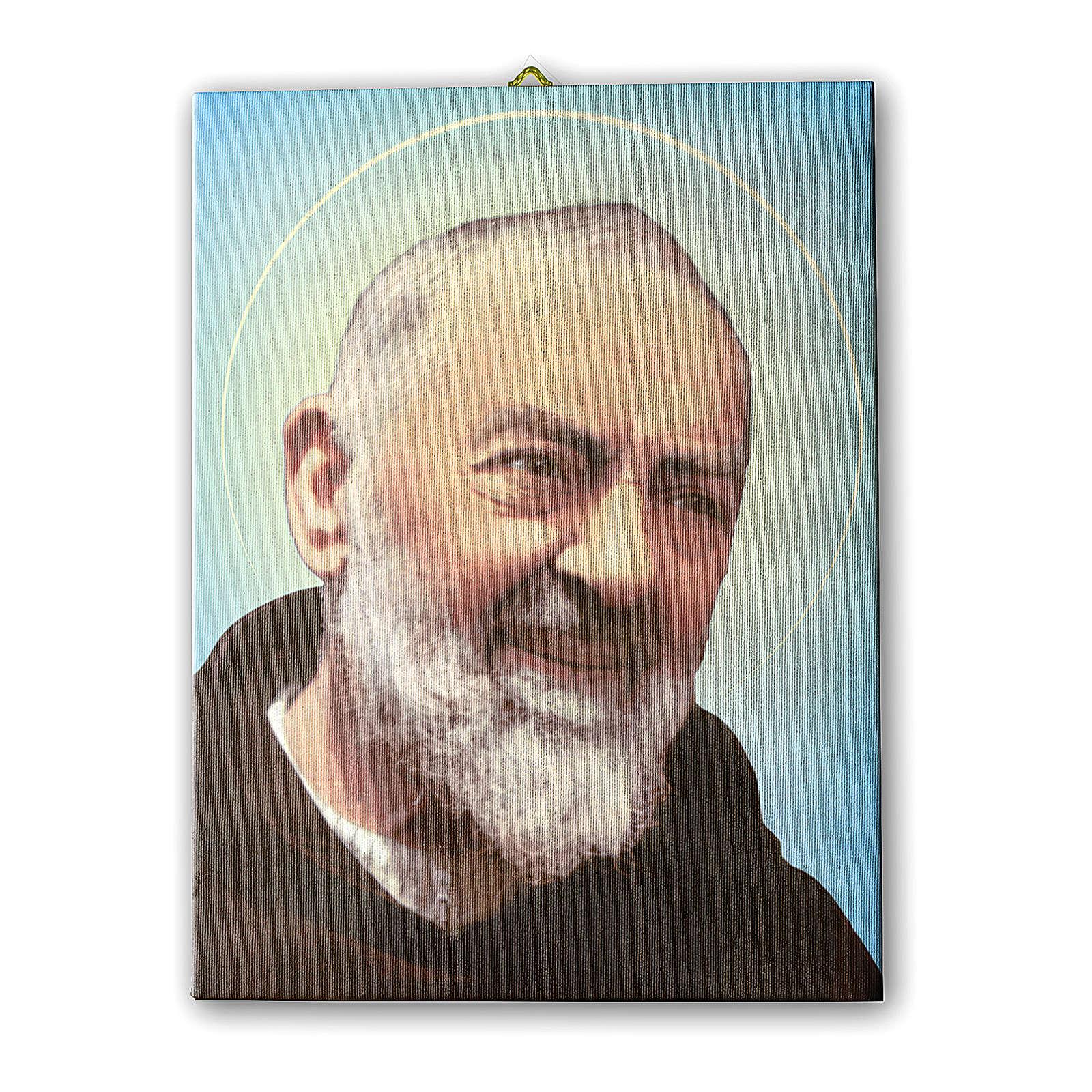 Cuadro sobre tela pictórica Padre Pío 40x30 cm 3