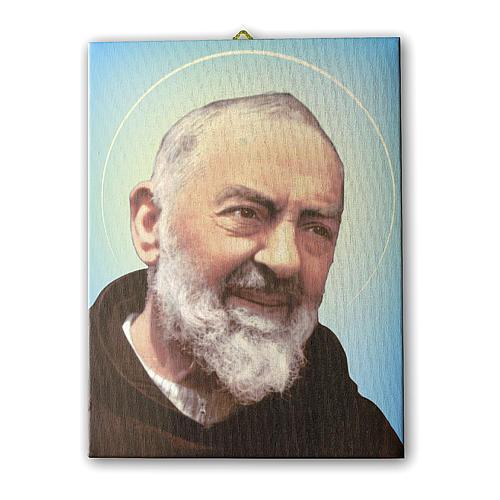 Quadro su tela pittorica Padre Pio 40x30 cm 1