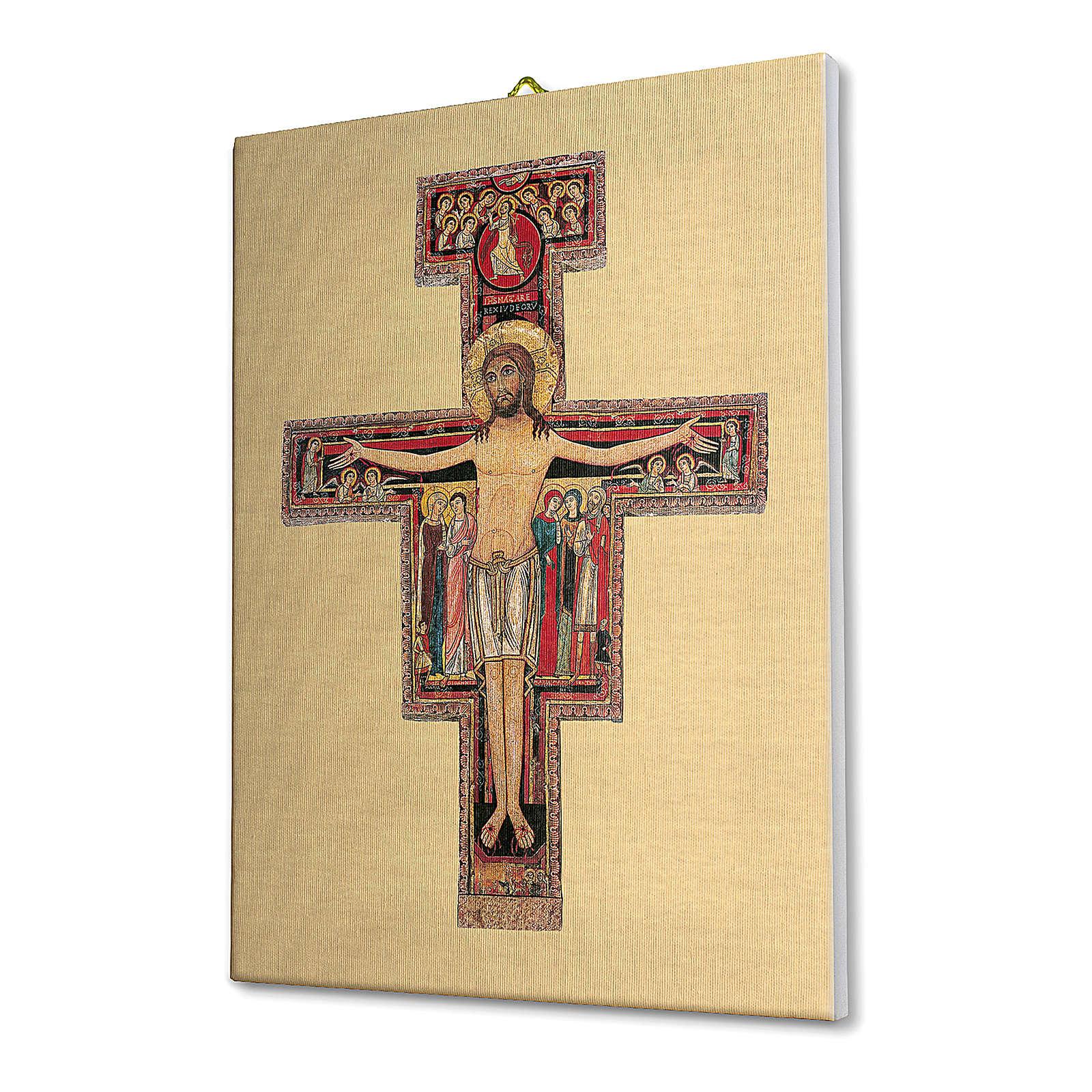 Quadro su tela pittorica Crocefisso di San Damiano 25x20 cm 3