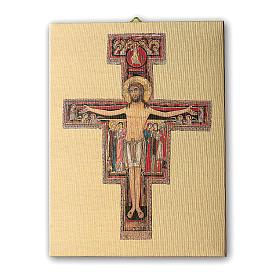 Quadro su tela pittorica Crocefisso di San Damiano 25x20 cm s1