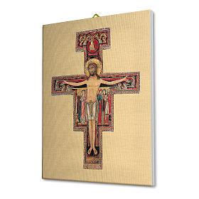 Quadro su tela pittorica Crocefisso di San Damiano 25x20 cm s2