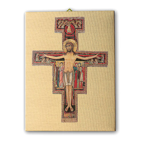 Quadro su tela pittorica Crocefisso di San Damiano 25x20 cm 1