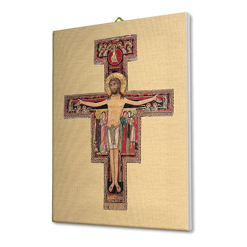 Quadro su tela pittorica Crocefisso di San Damiano 25x20 cm 2