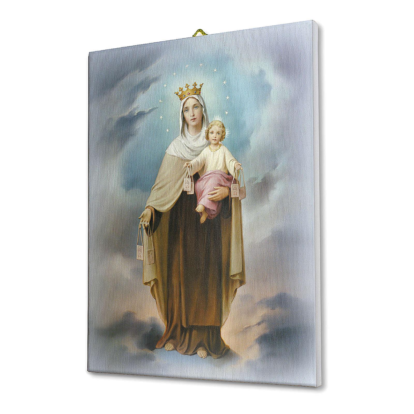 Quadro su tela pittorica Madonna del Carmine 25x20 cm 3