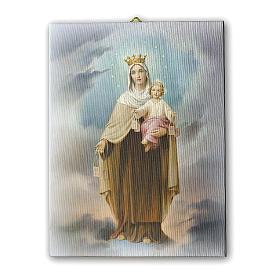 Quadro su tela pittorica Madonna del Carmine 25x20 cm s1