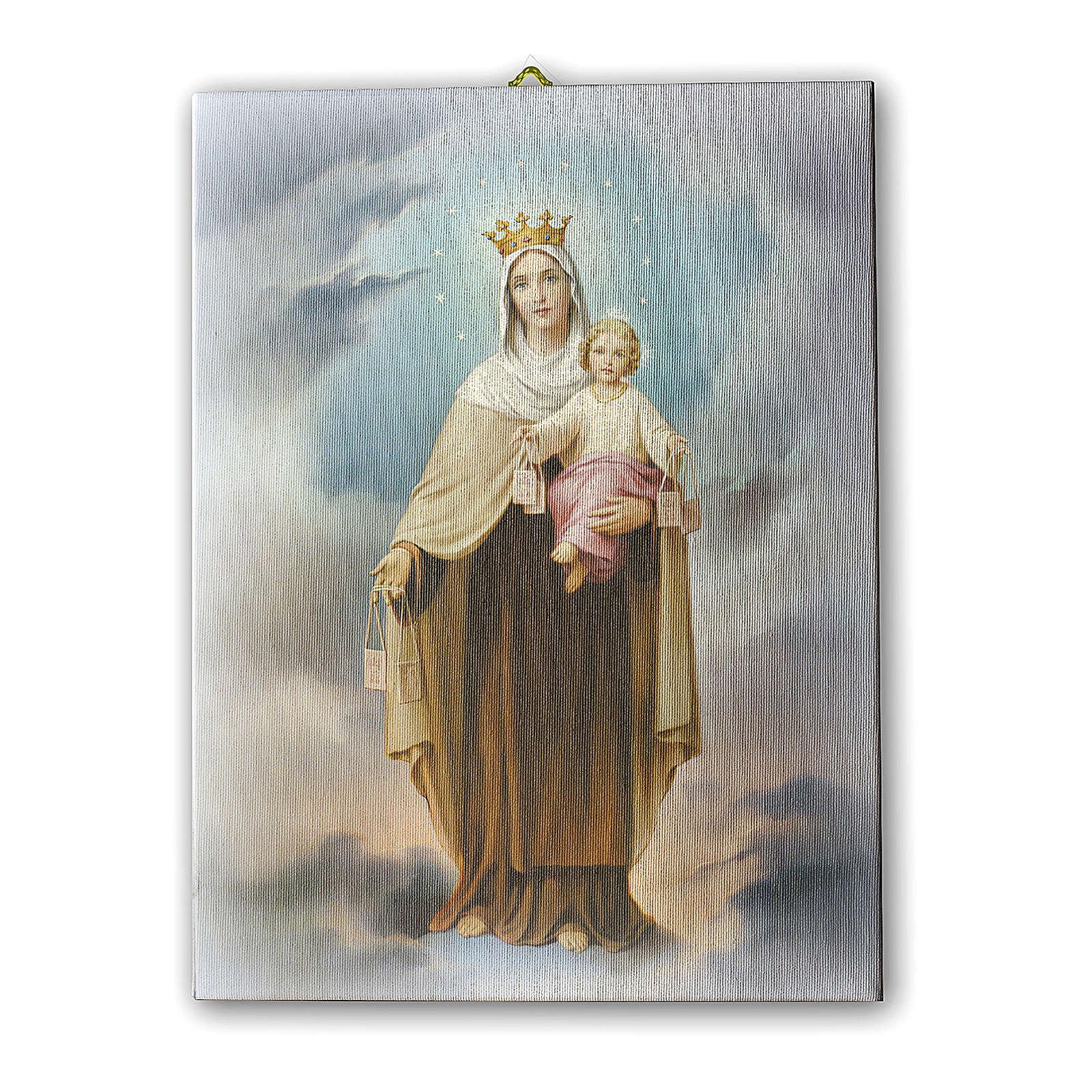 Quadro su tela pittorica Madonna del Carmine 40x30 cm 3