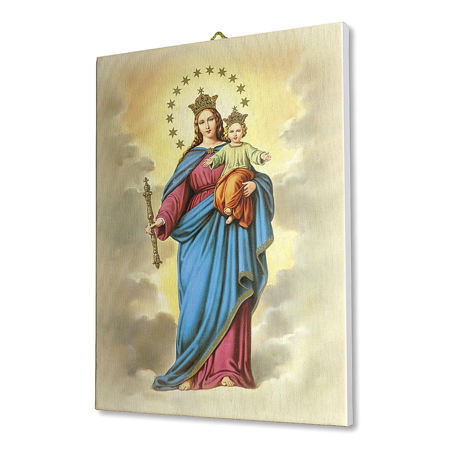 Quadro su tela pittorica Maria Ausiliatrice 25x20 cm 3