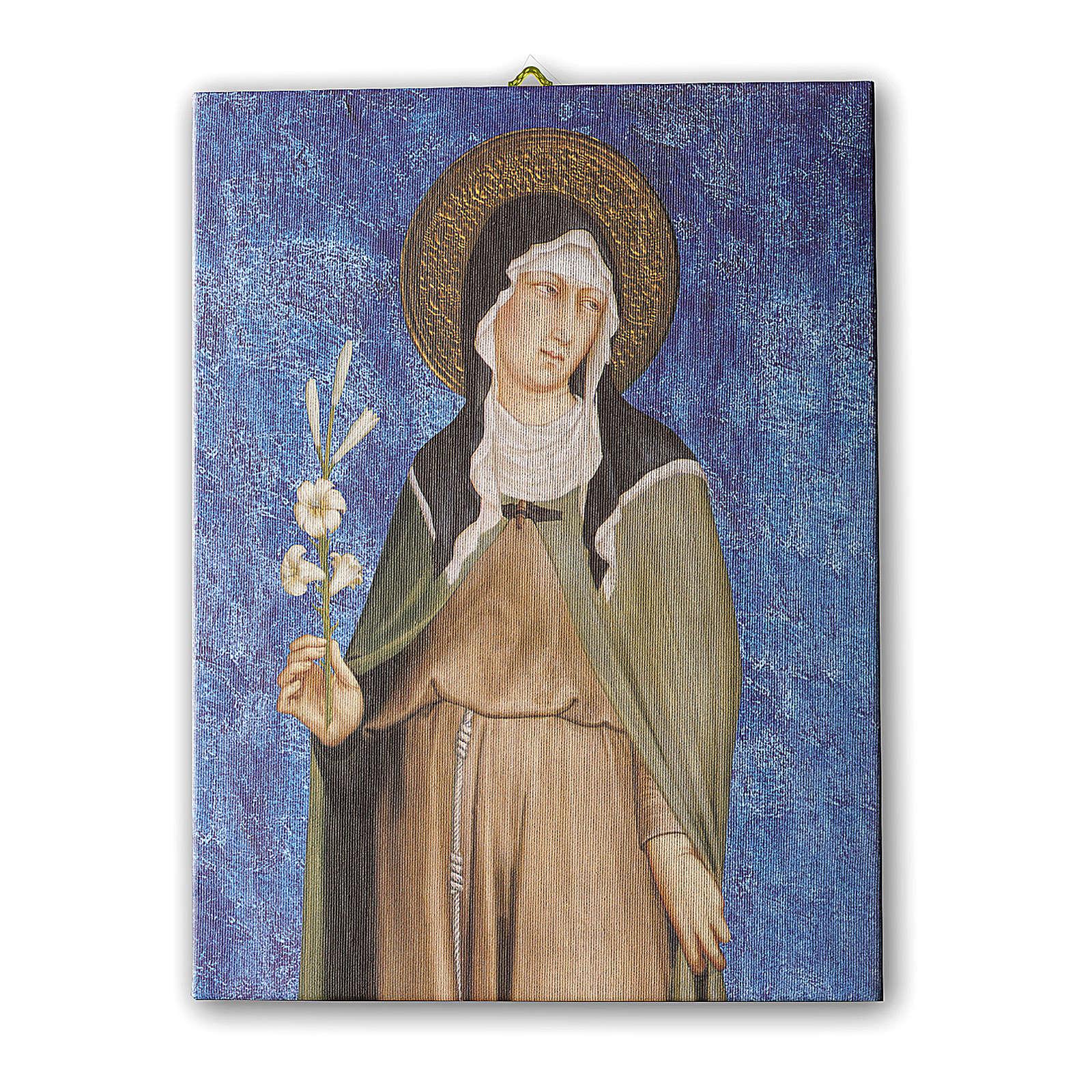 Quadro su tela pittorica Santa Chiara di Simone Martini 25x20 cm 3
