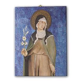 Quadro su tela pittorica Santa Chiara di Simone Martini 25x20 cm s1