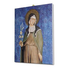 Quadro su tela pittorica Santa Chiara di Simone Martini 25x20 cm s2