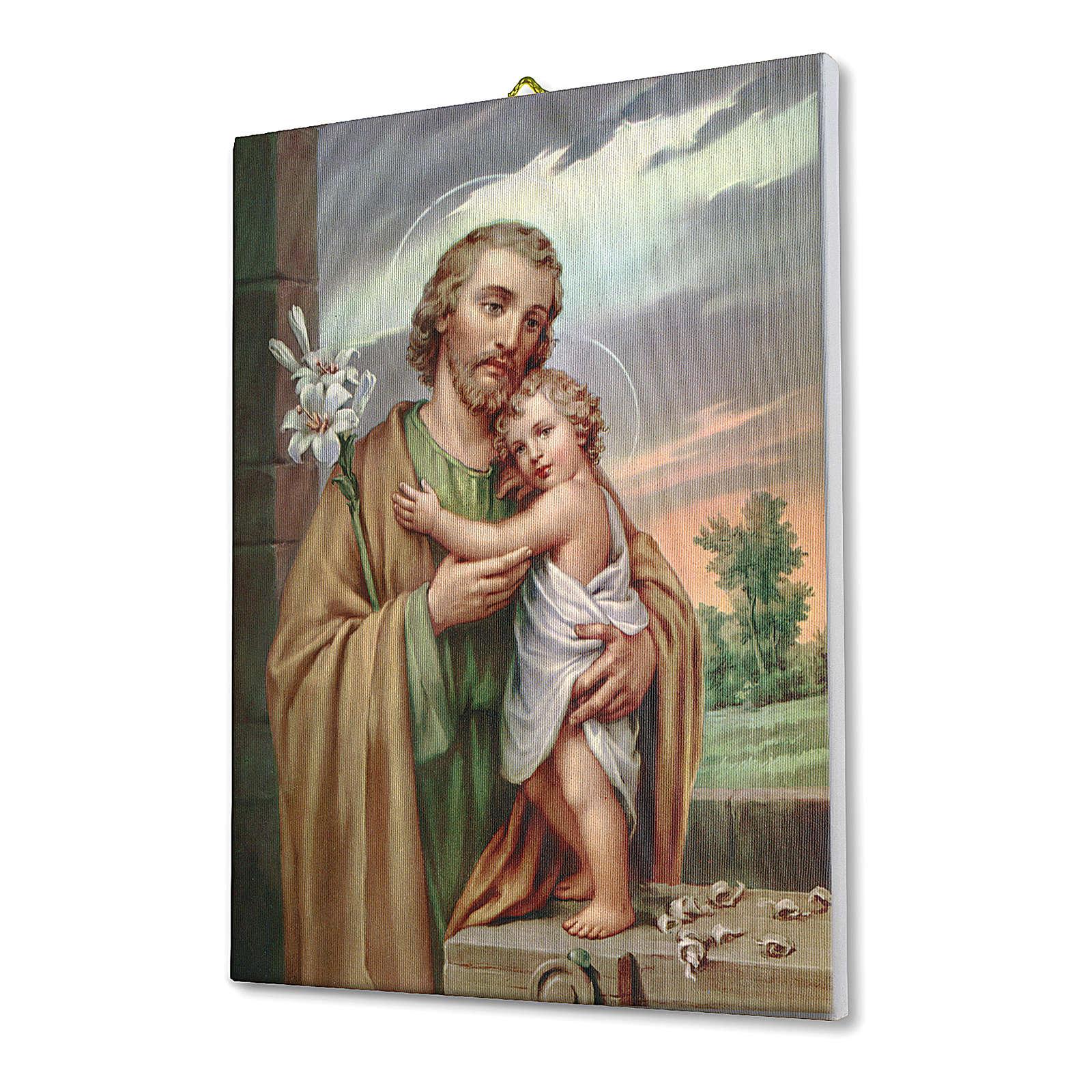 Quadro su tela pittorica San Giuseppe 70x50 cm 3