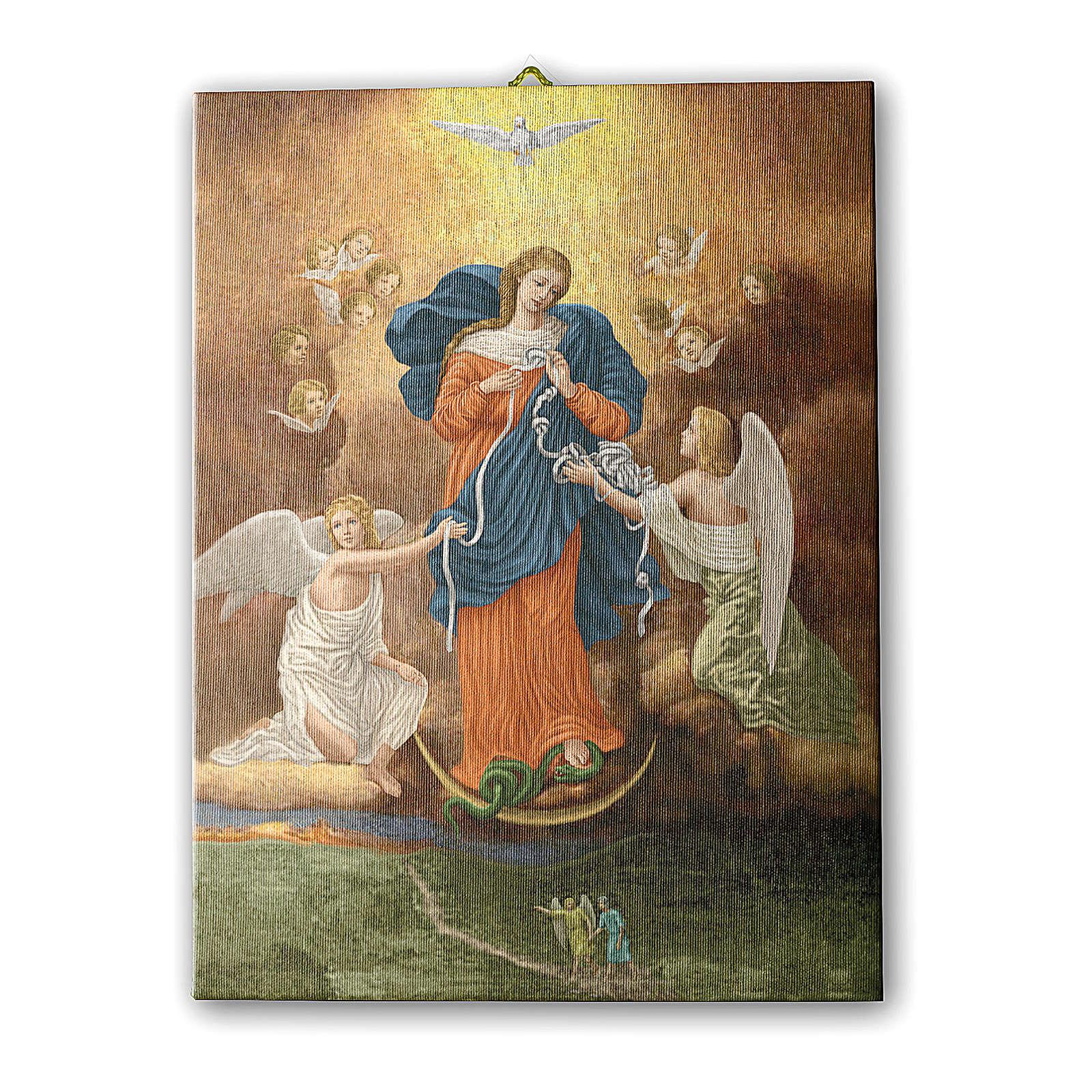 Quadro su tela pittorica Madonna dei Nodi 25x20 cm 3