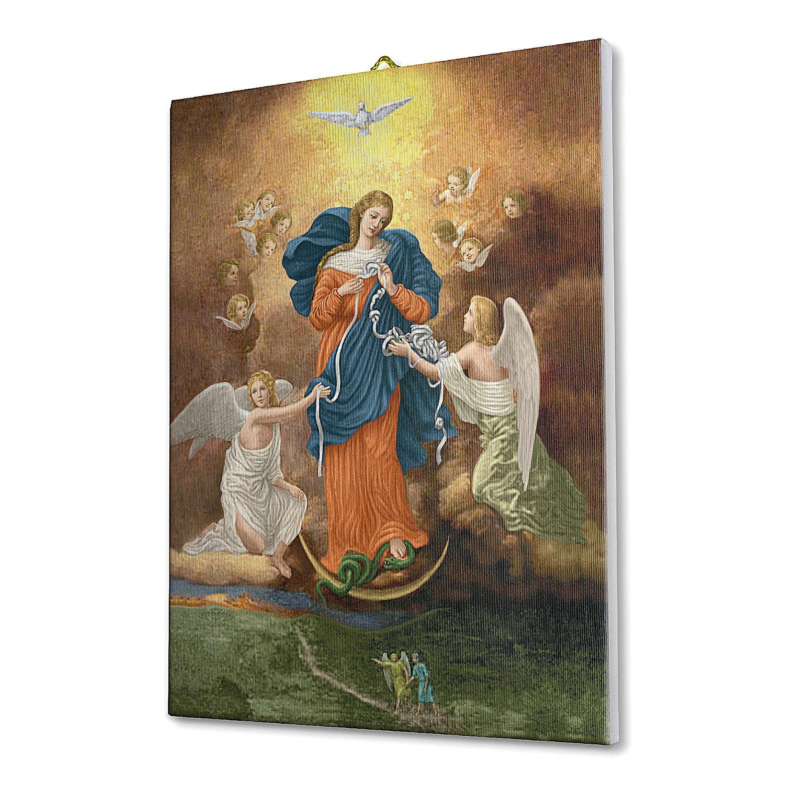 Quadro su tela pittorica Madonna dei Nodi 40x30 cm 3