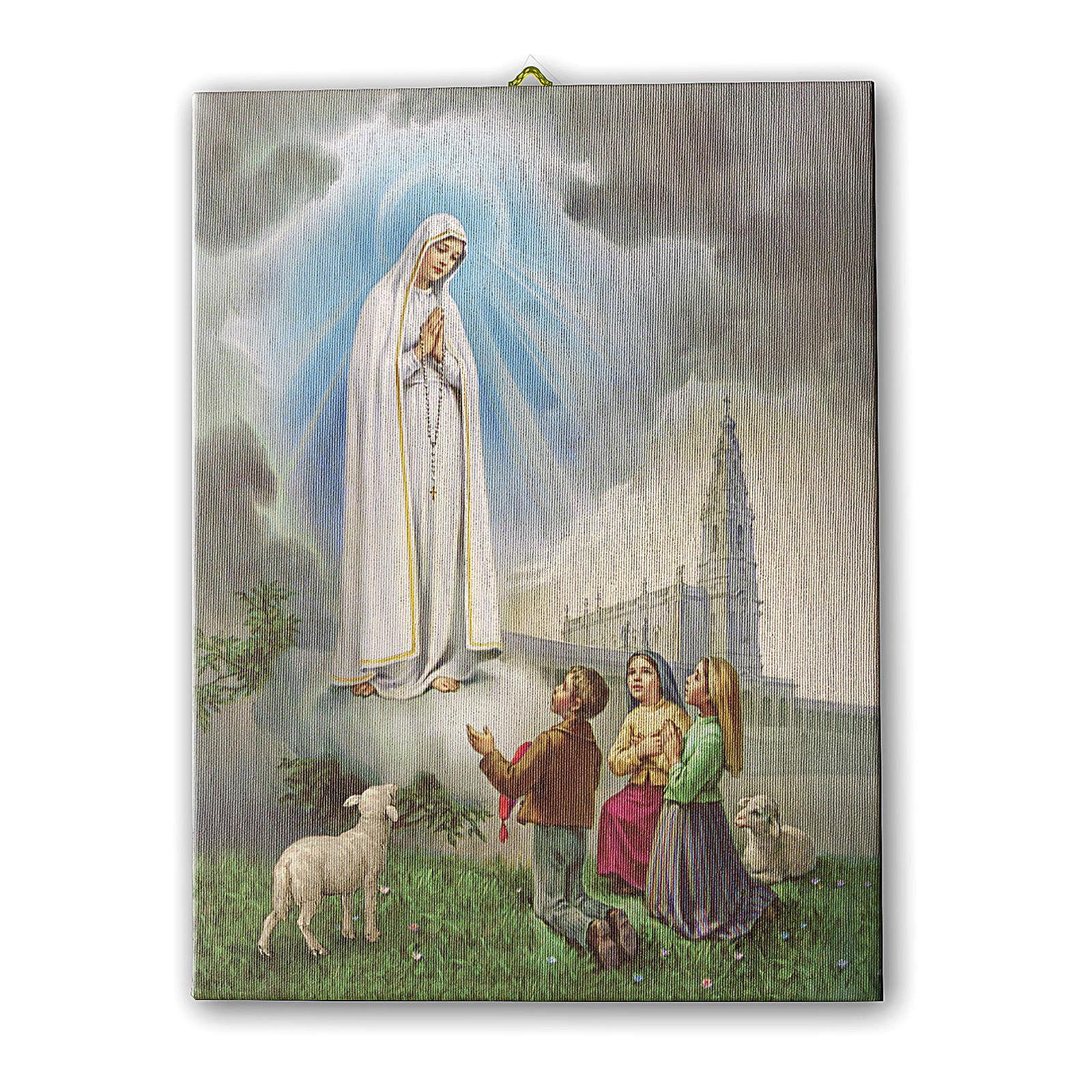 Quadro su tela pittorica Apparizione di Fatima 40x30 cm 3