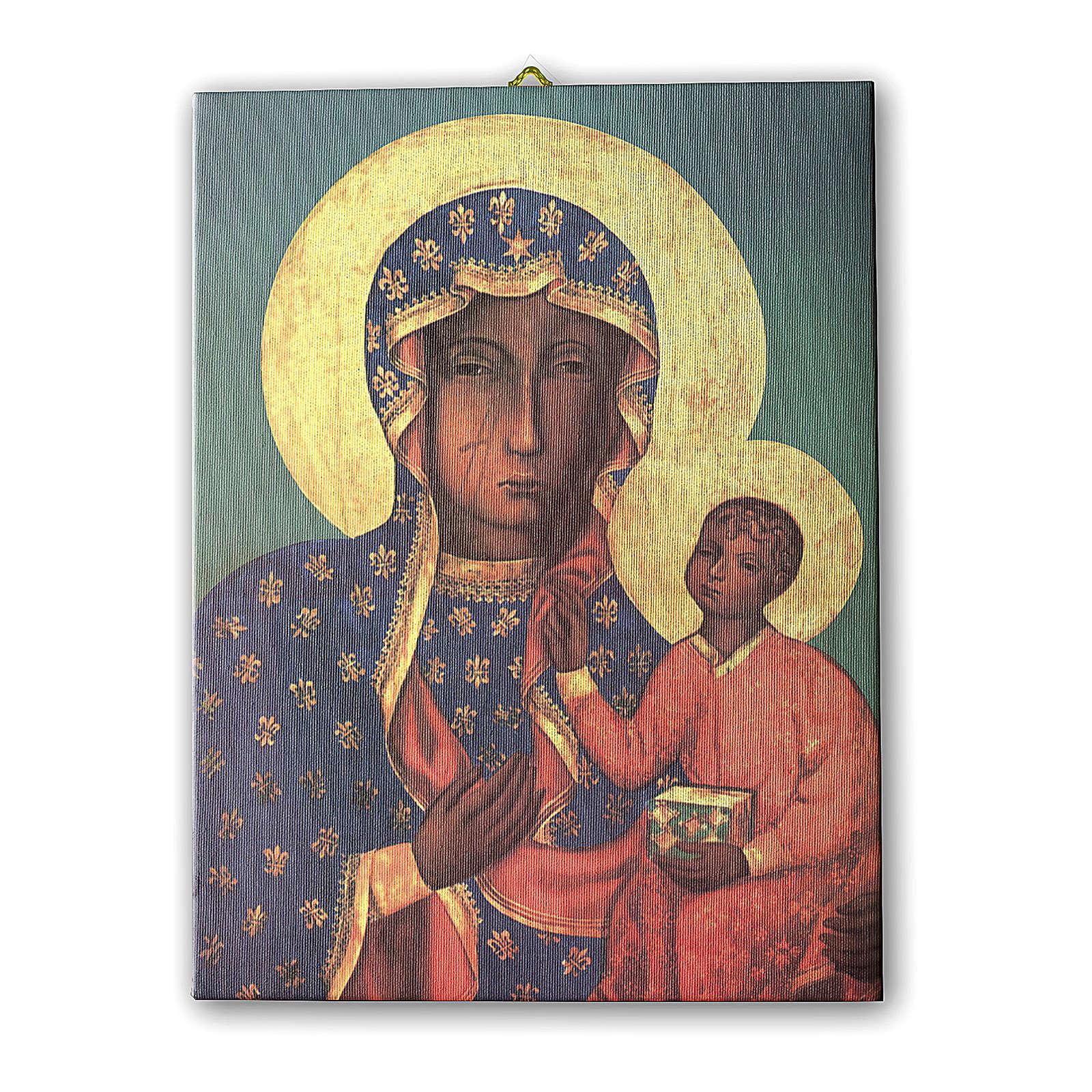 Quadro su tela pittorica Madonna di Czestochowa 25x20 cm 3