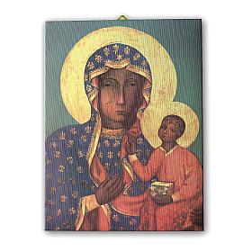 Quadro su tela pittorica Madonna di Czestochowa 25x20 cm s1