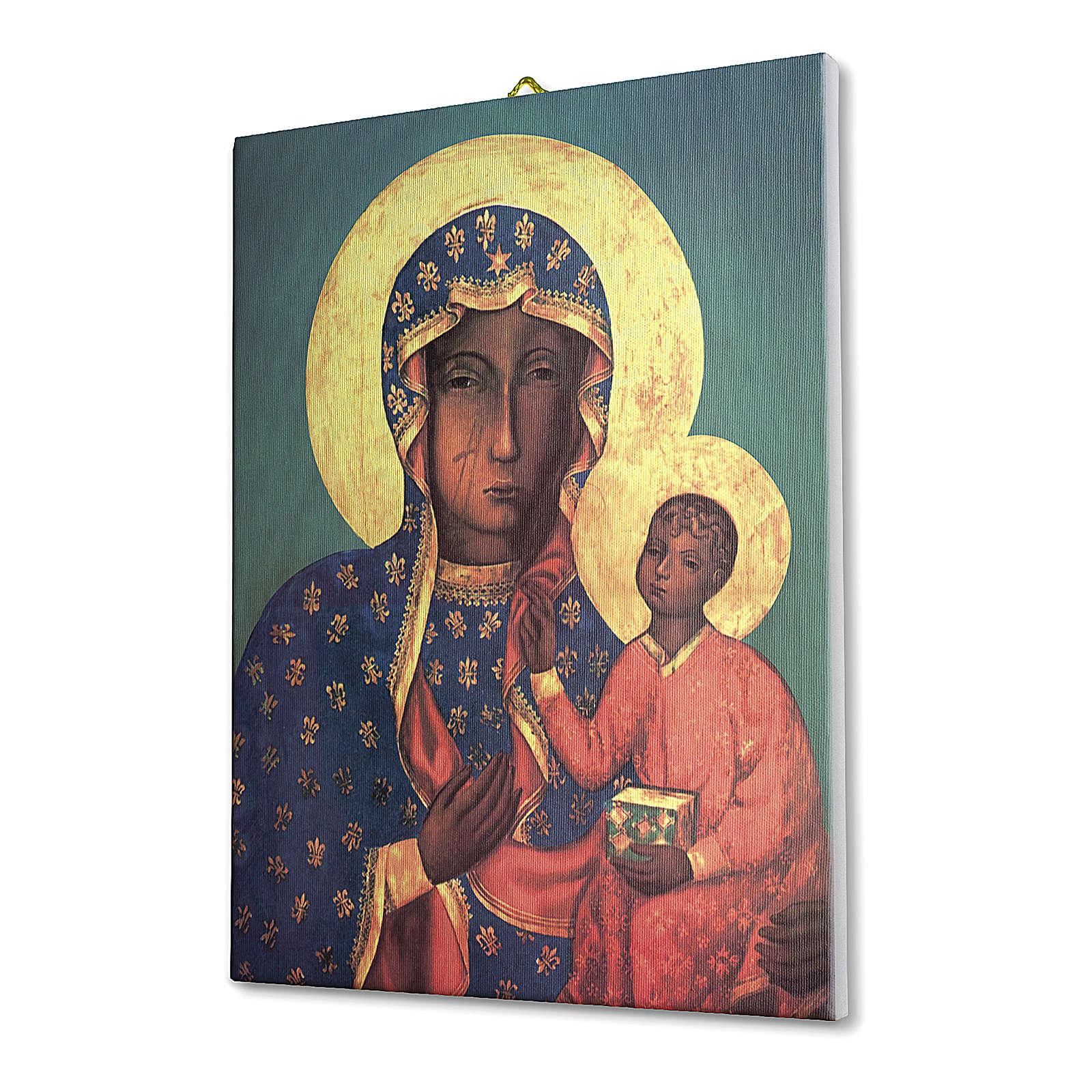 Quadro su tela pittorica Madonna di Czestochowa 40x30 cm 3