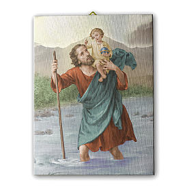 Quadro su tela pittorica San Cristoforo 25x20 cm s1