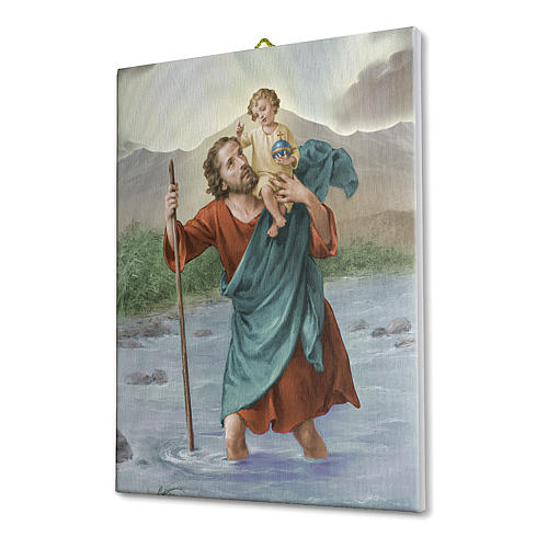 Quadro su tela pittorica San Cristoforo 25x20 cm 2