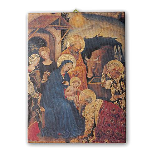 Quadro su tela pittorica Adorazione Magi di Gentile Fabriano 25x20 cm 1