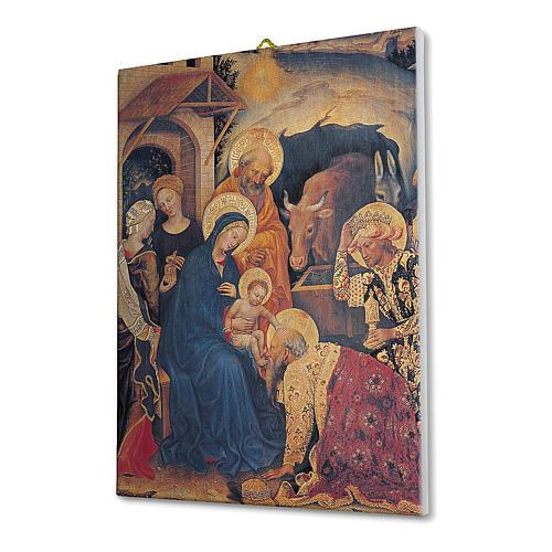 Quadro su tela pittorica Adorazione Magi di Gentile Fabriano 25x20 cm 2