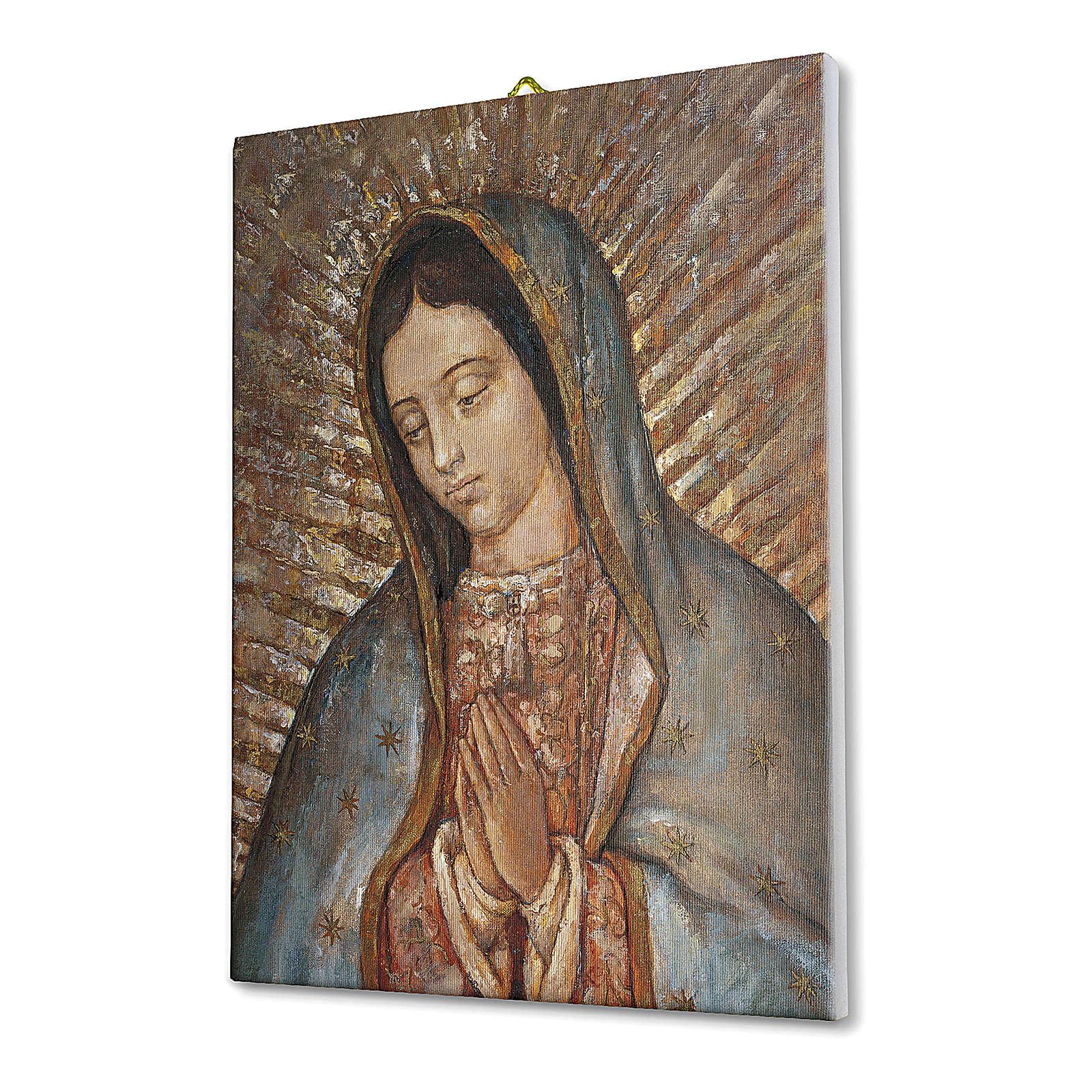 Quadro su tela pittorica Busto della Vergine di Guadalupe 25x20 cm 3