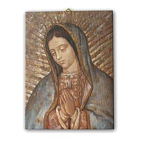 Quadro su tela pittorica Busto della Vergine di Guadalupe 25x20 cm s1