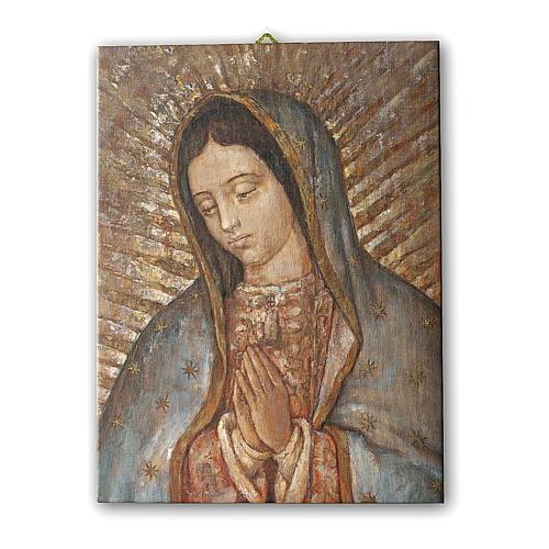 Quadro su tela pittorica Busto della Vergine di Guadalupe 25x20 cm 1