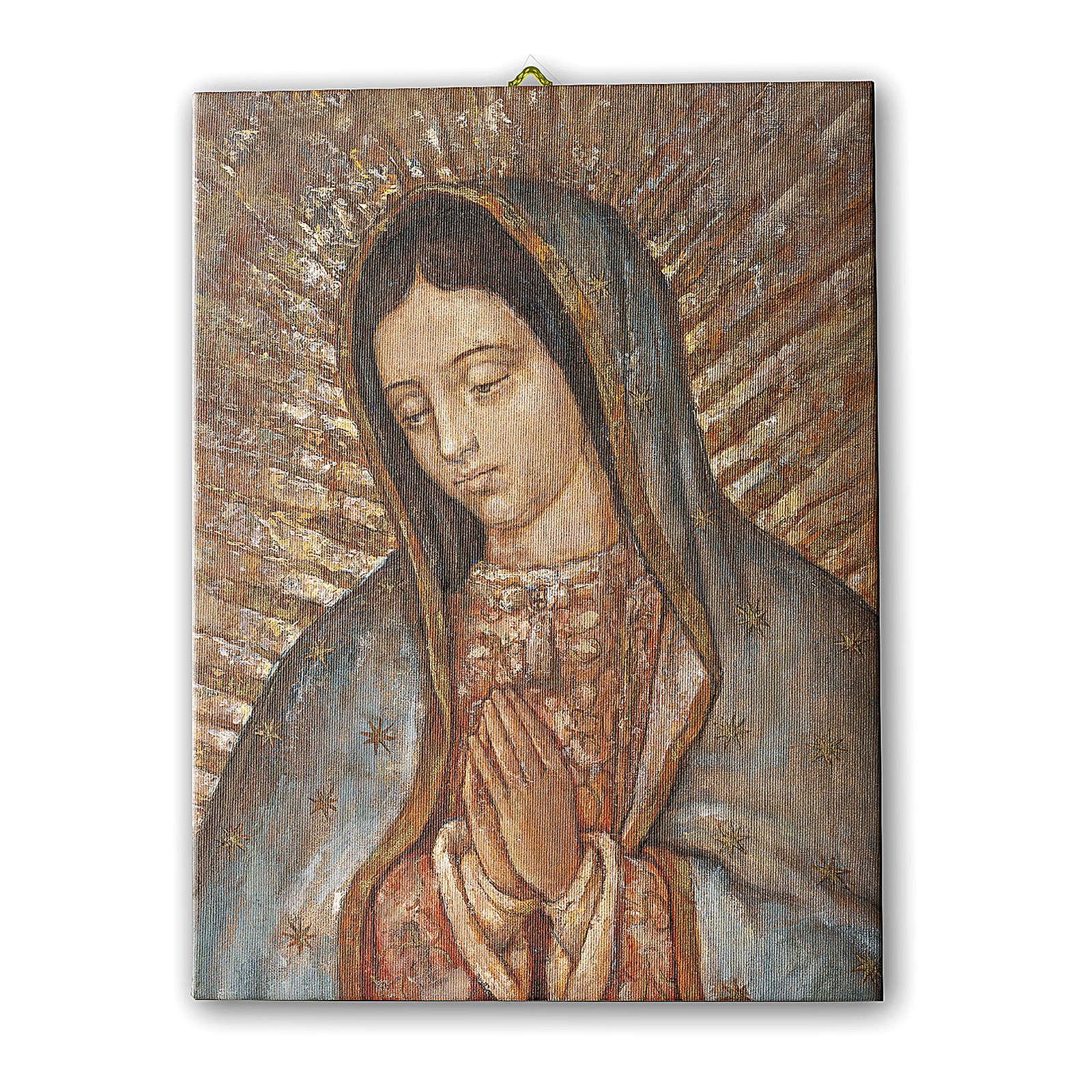Quadro su tela pittorica Busto della Vergine di Guadalupe 70x50 cm 3