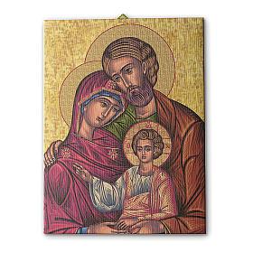 Cuadros, estampas y manuscritos iluminados: Cuadro sobre tela pictórica Icono de la Sagrada Familia 25x20 cm