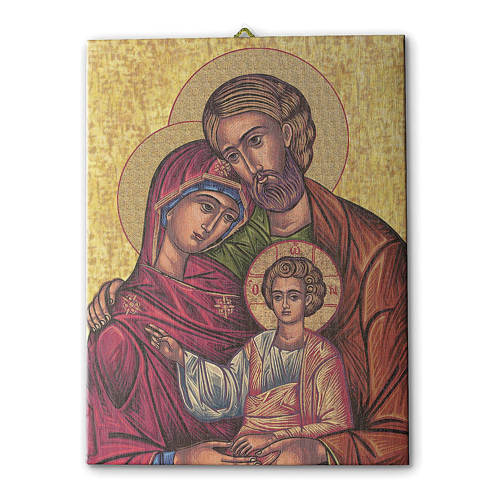 Quadro su tela pittorica Icona della Sacra Famiglia 40x30 cm 3