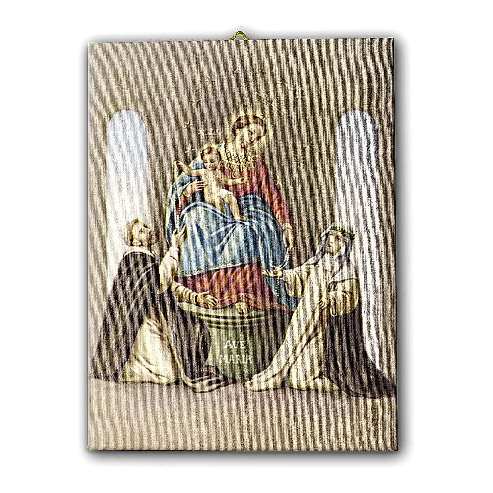 Cuadro sobre tela pictórica Virgen del Rosario de Pompei 25x20 cm 3