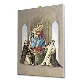 Cuadro sobre tela pictórica Virgen del Rosario de Pompei 25x20 cm s2