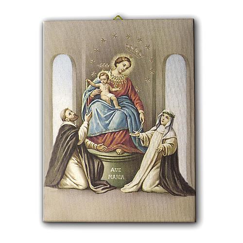 Cuadro sobre tela pictórica Virgen del Rosario de Pompei 25x20 cm 1
