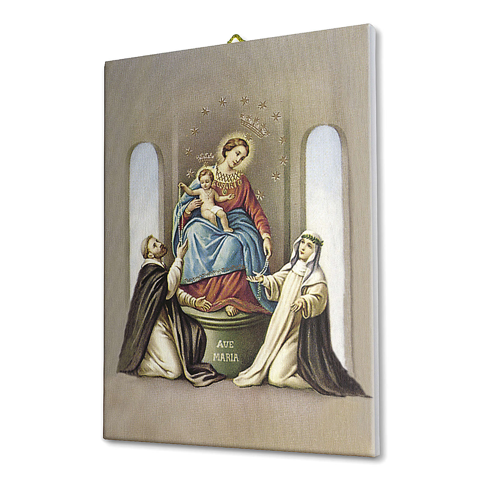 Quadro su tela pittorica Madonna del Rosario di Pompei 25x20 cm 3