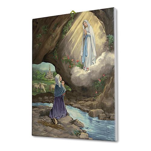Quadro su tela pittorica Apparizione Lourdes con Bernadette 25x20 cm 2