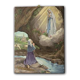 Quadro su tela pittorica Apparizione di Lourdes con Bernadette 25x20 cm s1
