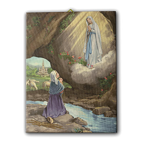 Quadro su tela pittorica Apparizione di Lourdes con Bernadette 25x20 cm 1