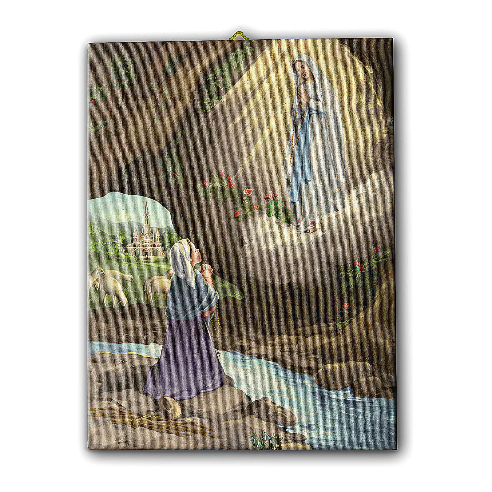 Quadro su tela pittorica Apparizione di Lourdes con Bernadette 70x50 cm 3