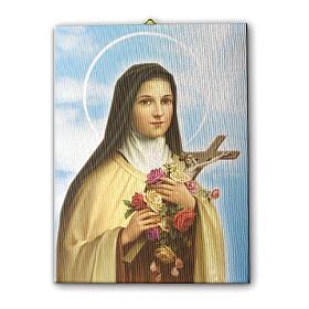 Quadro su tela pittorica Santa Teresa del Bambin Gesù 25x20 cm s3